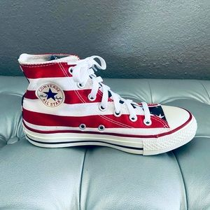 NEW! American Flag Red White Blue Hi Top Sneakers